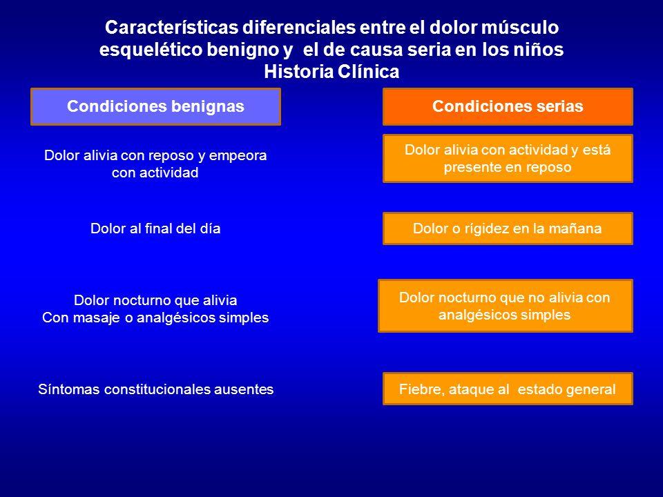 Características diferenciales entre el dolor músculo esquelético benigno y el de causa seria en los niños Historia Clínica Condiciones benignasCondici