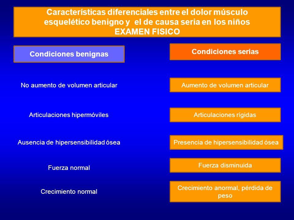 Características diferenciales entre el dolor músculo esquelético benigno y el de causa seria en los niños LABORATORIO Y GABINETE Condiciones benignasCondiciones serias Hemograma normal Hemograma alterado VES normal Radiografías normales VES elevada Anomalías radiológicas Edema de tejidos blandos Osteopenia Elevación del periostio Destrucción cortical
