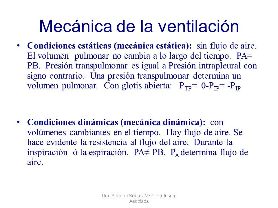 Mecánica de la ventilación Condiciones estáticas (mecánica estática): sin flujo de aire. El volumen pulmonar no cambia a lo largo del tiempo. PA= PB.
