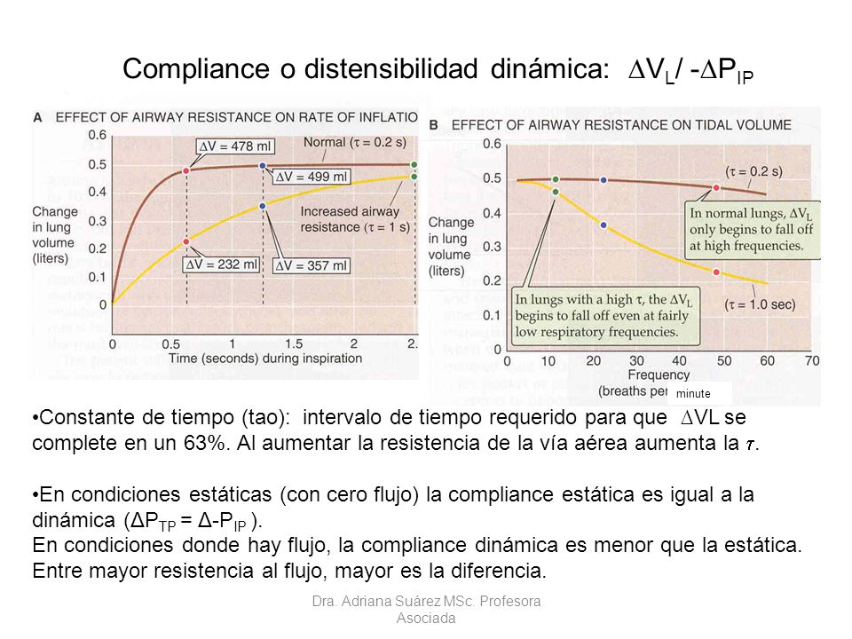 Constante de tiempo (tao): intervalo de tiempo requerido para que VL se complete en un 63%. Al aumentar la resistencia de la vía aérea aumenta la. En