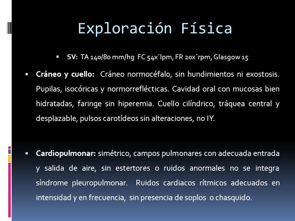 Exploración Física SV: TA 140/80 mm/hg FC 54x´lpm, FR 20x´rpm, Glasgow 15 Cráneo y cuello: Cráneo normocéfalo, sin hundimientos ni exostosis.