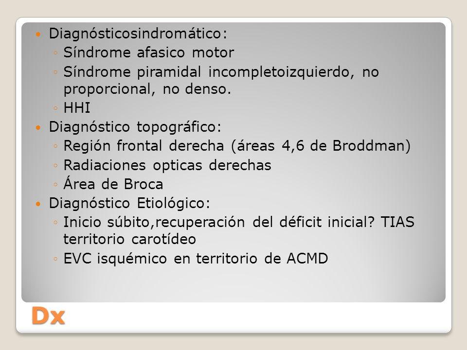 Dx Diagnósticosindromático: Síndrome afasico motor Síndrome piramidal incompletoizquierdo, no proporcional, no denso. HHI Diagnóstico topográfico: Reg