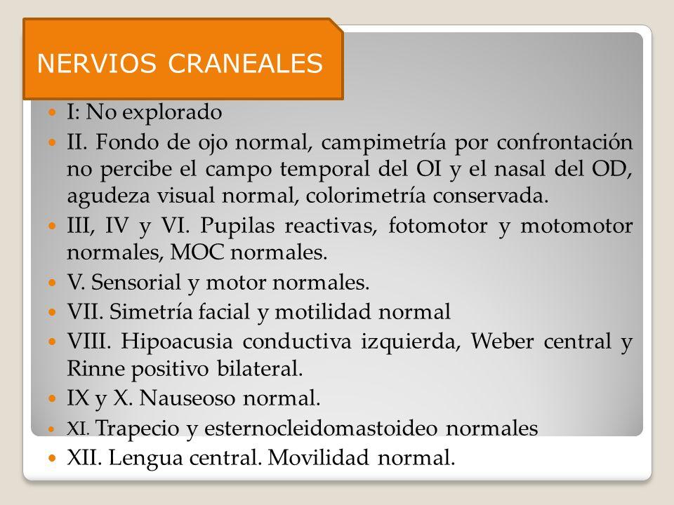 Nervios craneales: I: No explorado II. Fondo de ojo normal, campimetría por confrontación no percibe el campo temporal del OI y el nasal del OD, agude