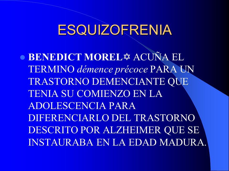 ESQUIZOFRENIA EN 1890 EMIL KRAEPELIN LATINIZO EL TERMINO A dementia precox.