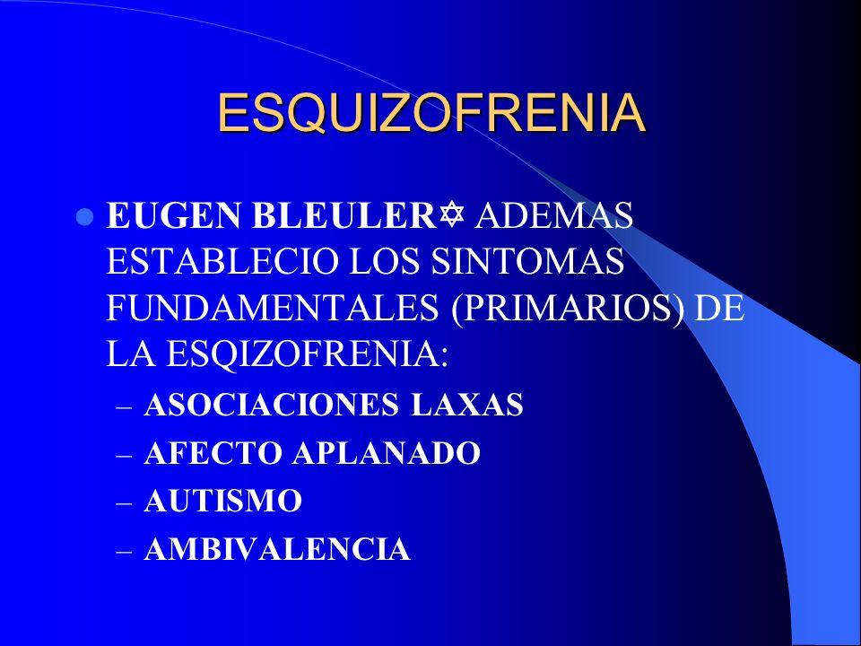 ESQUIZOFRENIA EUGEN BLEULER TAMBIEN ESTABLECIO SINTOMAS ACCESORIOS (SECUNDARIOS) DE LA ESQUIZOFRENIA – ALUCINACIONES – DELIRIOS