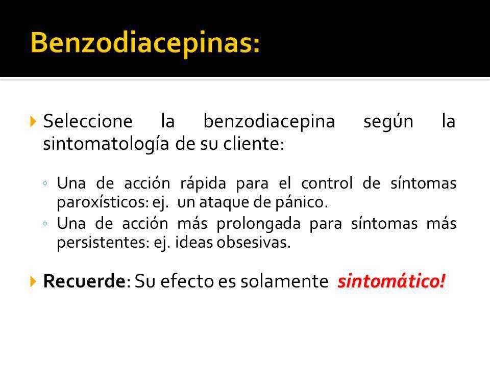 Seleccione la benzodiacepina según la sintomatología de su cliente: Una de acción rápida para el control de síntomas paroxísticos: ej. un ataque de pá