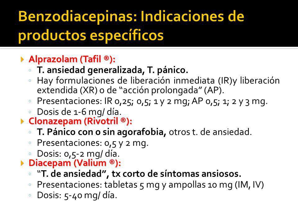 Alprazolam (Tafil ®): Alprazolam (Tafil ®): T. ansiedad generalizada, T. pánico. Hay formulaciones de liberación inmediata (IR)y liberación extendida
