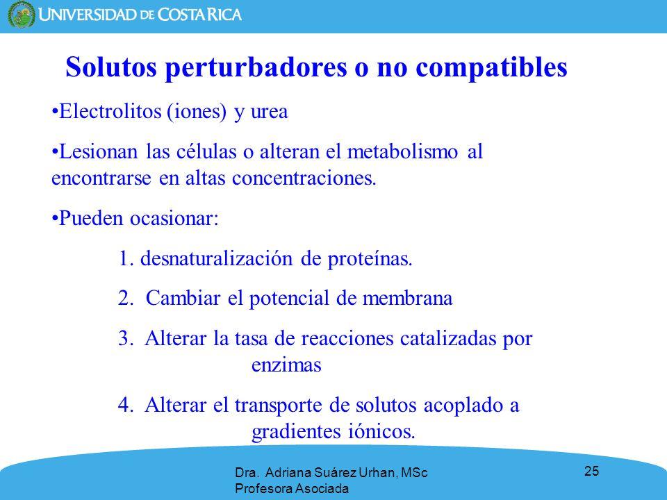 25 Solutos perturbadores o no compatibles Electrolitos (iones) y urea Lesionan las células o alteran el metabolismo al encontrarse en altas concentrac