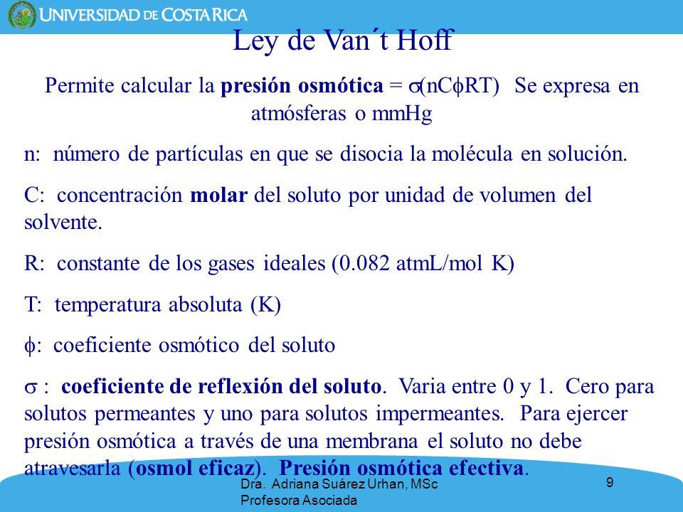 9 Ley de Van´t Hoff Permite calcular la presión osmótica = (nC RT) Se expresa en atmósferas o mmHg n: número de partículas en que se disocia la molécu