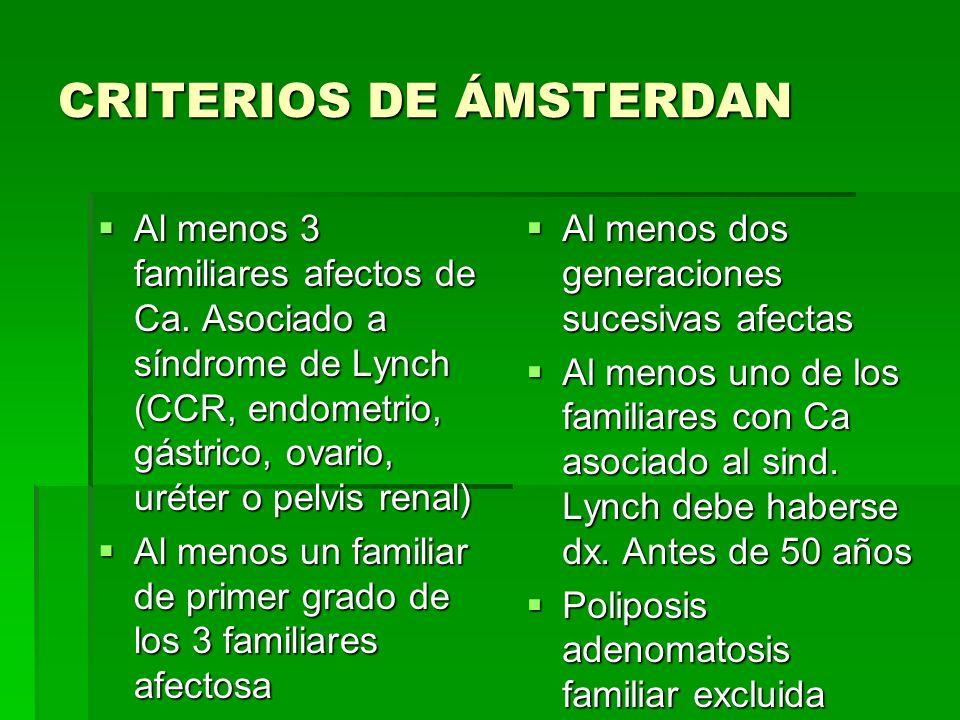 CRITERIOS DE ÁMSTERDAN Al menos 3 familiares afectos de Ca. Asociado a síndrome de Lynch (CCR, endometrio, gástrico, ovario, uréter o pelvis renal) Al