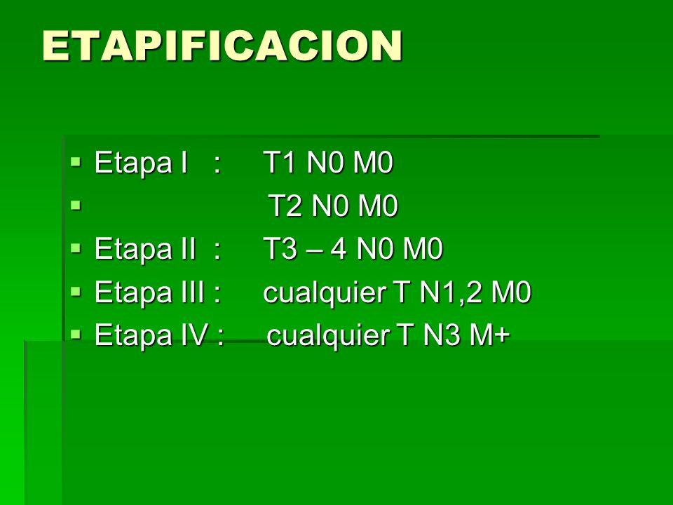 ETAPIFICACION Etapa I : T1 N0 M0 Etapa I : T1 N0 M0 T2 N0 M0 T2 N0 M0 Etapa II : T3 – 4 N0 M0 Etapa II : T3 – 4 N0 M0 Etapa III : cualquier T N1,2 M0