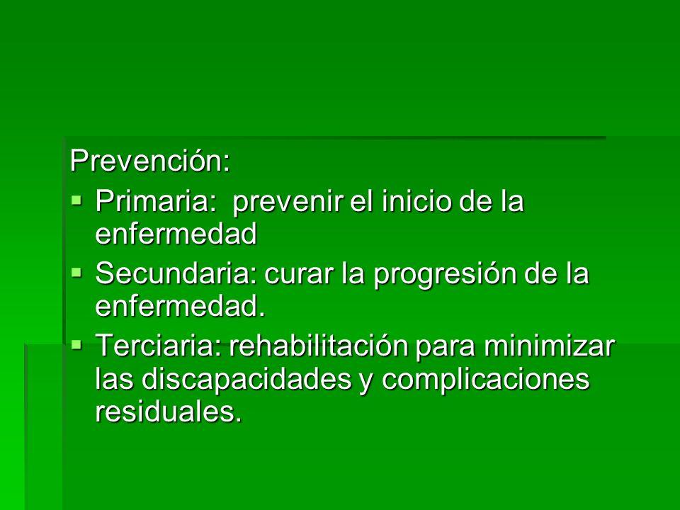 Prevención: Primaria: prevenir el inicio de la enfermedad Primaria: prevenir el inicio de la enfermedad Secundaria: curar la progresión de la enfermed