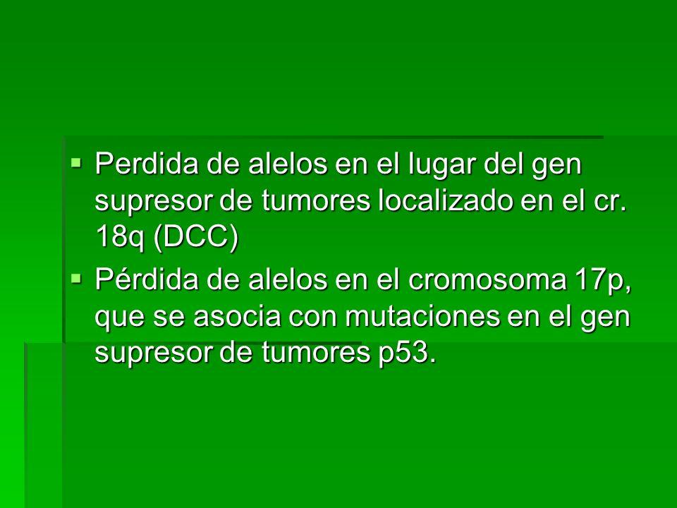 Perdida de alelos en el lugar del gen supresor de tumores localizado en el cr. 18q (DCC) Perdida de alelos en el lugar del gen supresor de tumores loc