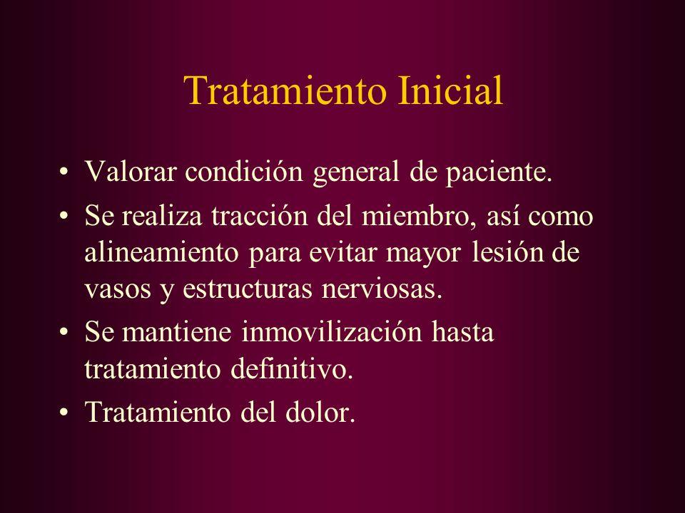 Tratamiento Inicial Valorar condición general de paciente. Se realiza tracción del miembro, así como alineamiento para evitar mayor lesión de vasos y