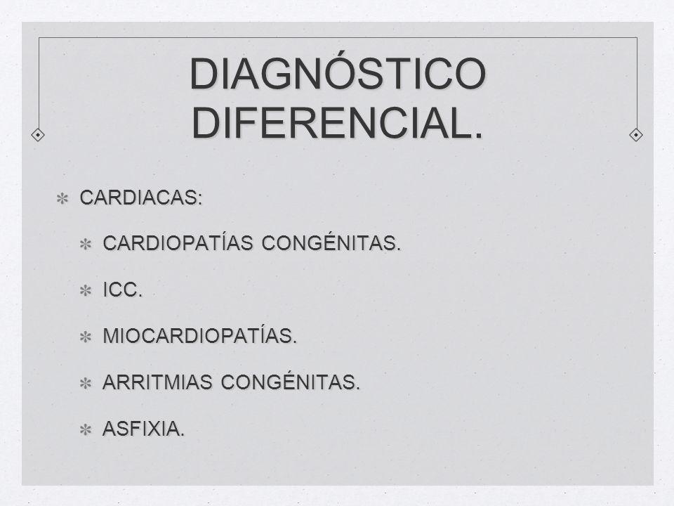 DIAGNÓSTICO DIFERENCIAL. CARDIACAS: CARDIOPATÍAS CONGÉNITAS. ICC.MIOCARDIOPATÍAS. ARRITMIAS CONGÉNITAS. ASFIXIA.