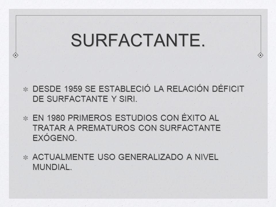 SURFACTANTE. DESDE 1959 SE ESTABLECIÓ LA RELACIÓN DÉFICIT DE SURFACTANTE Y SIRI. EN 1980 PRIMEROS ESTUDIOS CON ÉXITO AL TRATAR A PREMATUROS CON SURFAC