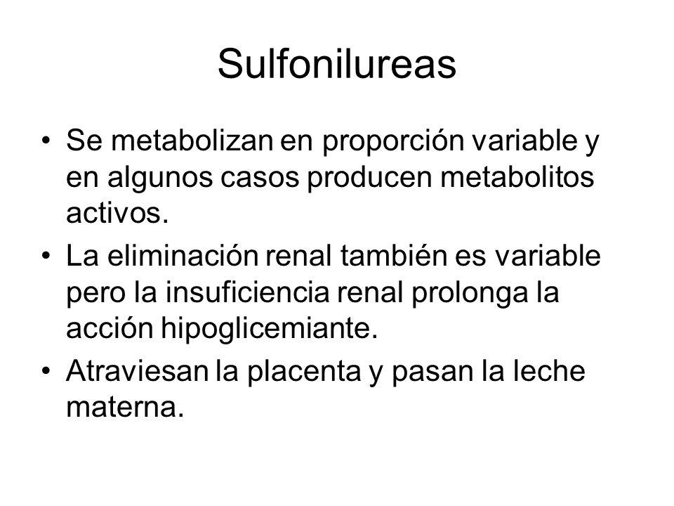 Se metabolizan en proporción variable y en algunos casos producen metabolitos activos. La eliminación renal también es variable pero la insuficiencia