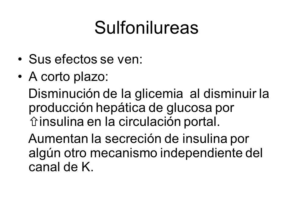 Sulfonilureas Sus efectos se ven: A corto plazo: Disminución de la glicemia al disminuir la producción hepática de glucosa por insulina en la circulac