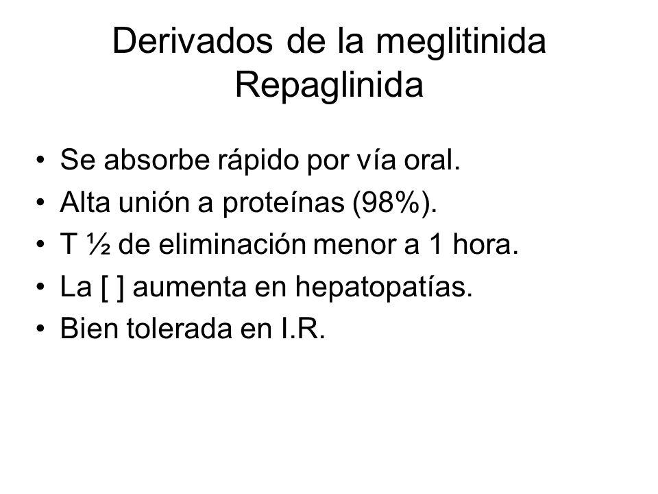 Derivados de la meglitinida Repaglinida Se absorbe rápido por vía oral. Alta unión a proteínas (98%). T ½ de eliminación menor a 1 hora. La [ ] aument