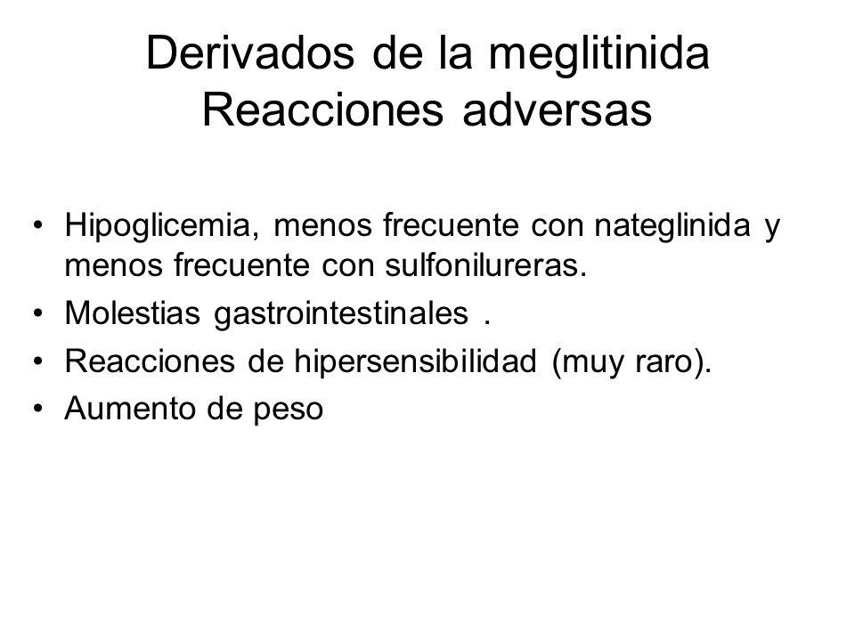 Derivados de la meglitinida Reacciones adversas Hipoglicemia, menos frecuente con nateglinida y menos frecuente con sulfonilureras. Molestias gastroin
