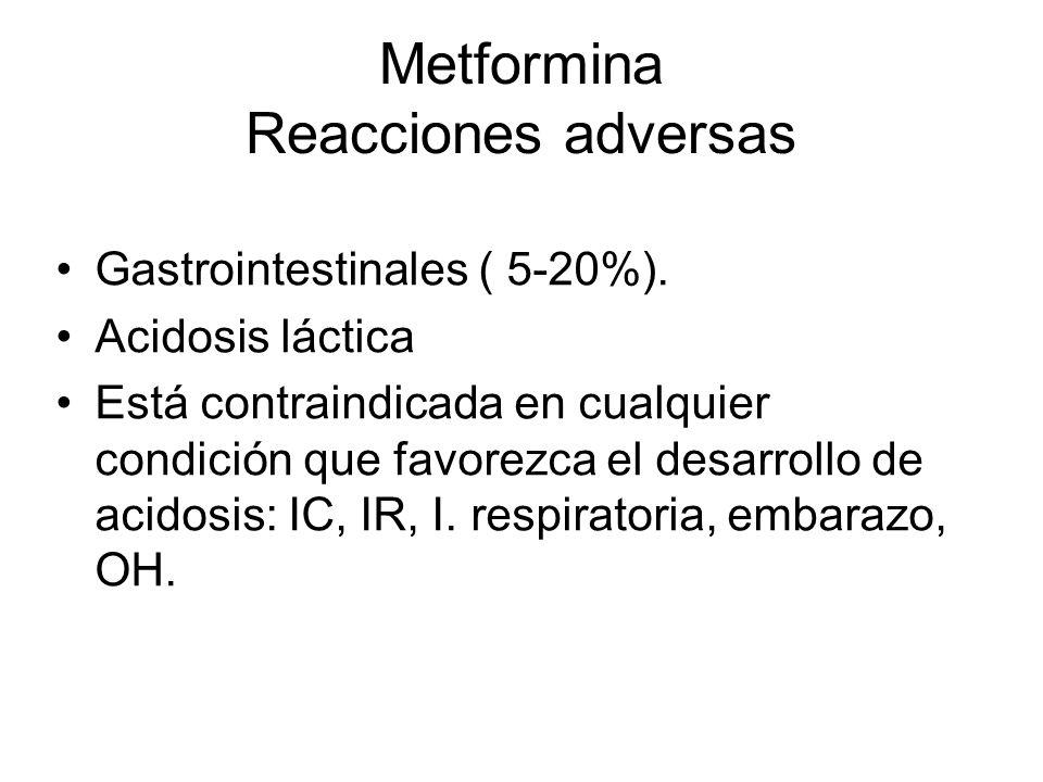 Metformina Reacciones adversas Gastrointestinales ( 5-20%). Acidosis láctica Está contraindicada en cualquier condición que favorezca el desarrollo de