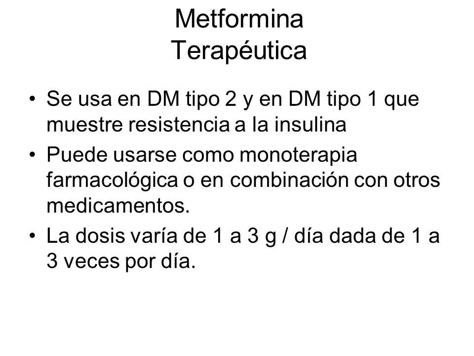 Metformina Terapéutica Se usa en DM tipo 2 y en DM tipo 1 que muestre resistencia a la insulina Puede usarse como monoterapia farmacológica o en combi