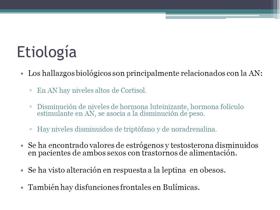 Etiología Los hallazgos biológicos son principalmente relacionados con la AN: En AN hay niveles altos de Cortisol. Disminución de niveles de hormona l