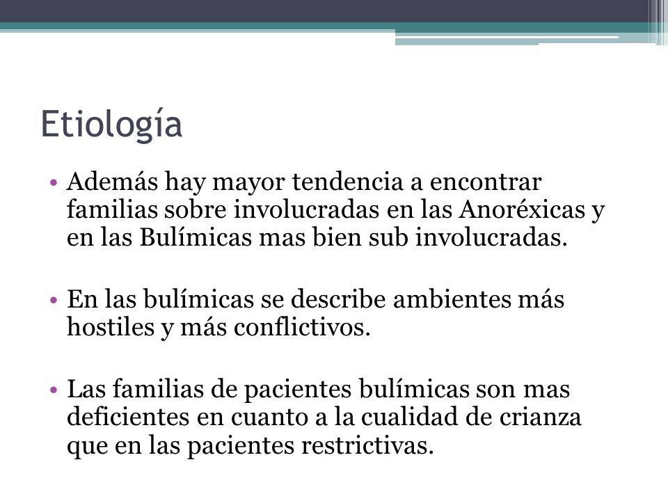 Etiología Además hay mayor tendencia a encontrar familias sobre involucradas en las Anoréxicas y en las Bulímicas mas bien sub involucradas. En las bu