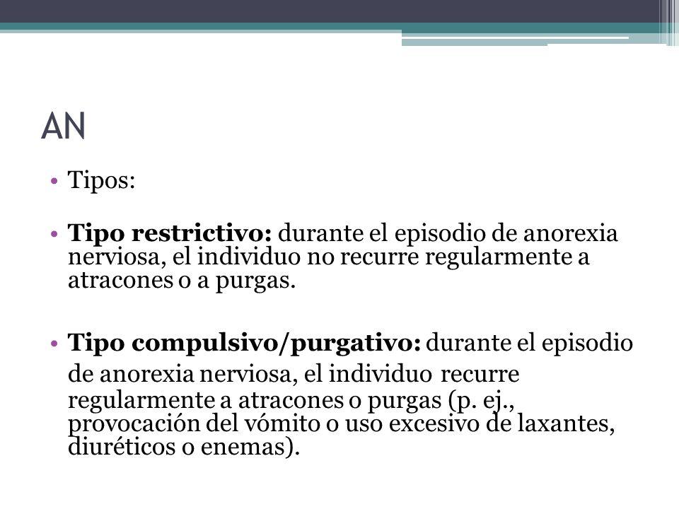 AN Tipos: Tipo restrictivo: durante el episodio de anorexia nerviosa, el individuo no recurre regularmente a atracones o a purgas. Tipo compulsivo/pur