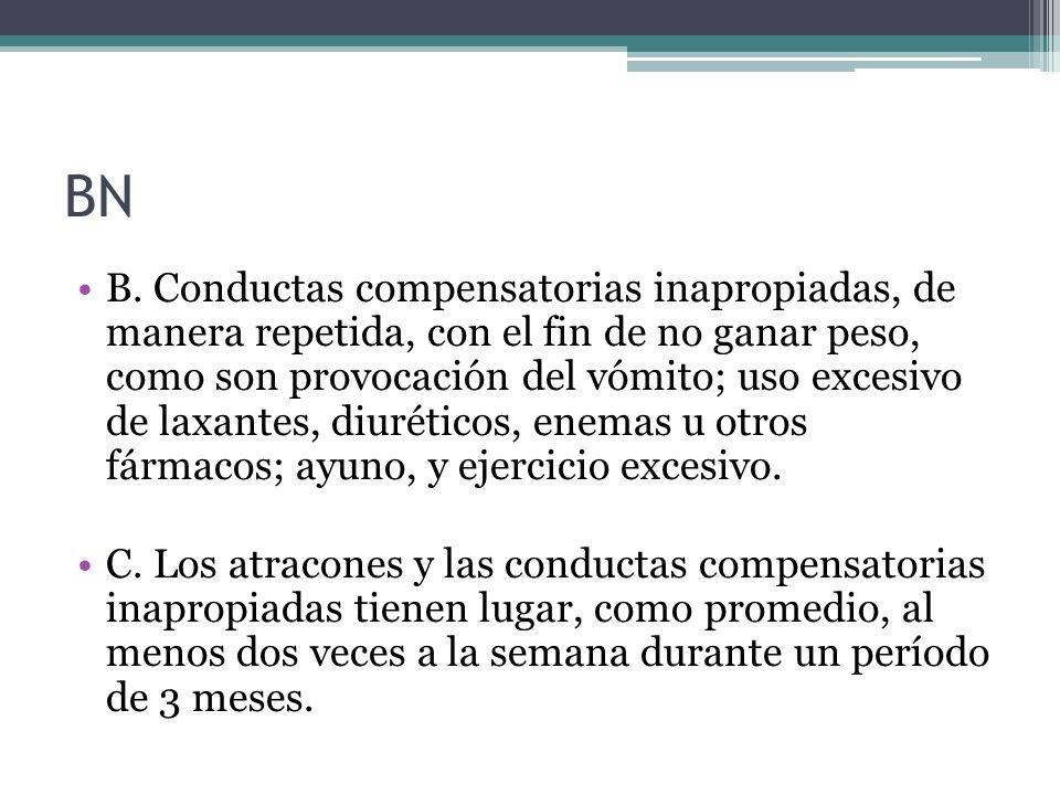 BN B. Conductas compensatorias inapropiadas, de manera repetida, con el fin de no ganar peso, como son provocación del vómito; uso excesivo de laxante