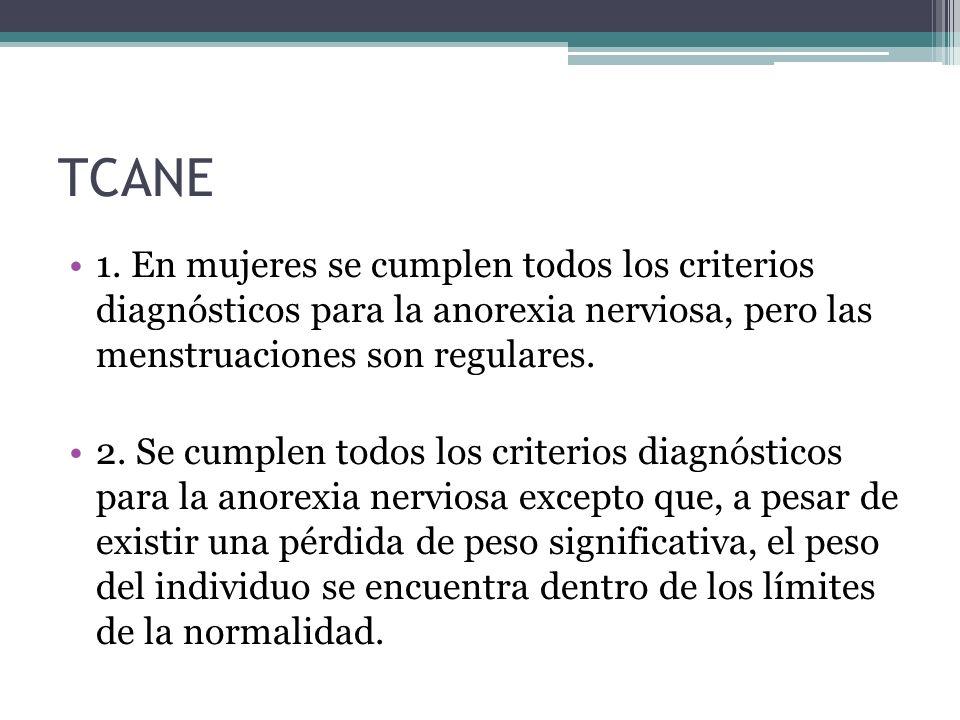 TCANE 1. En mujeres se cumplen todos los criterios diagnósticos para la anorexia nerviosa, pero las menstruaciones son regulares. 2. Se cumplen todos