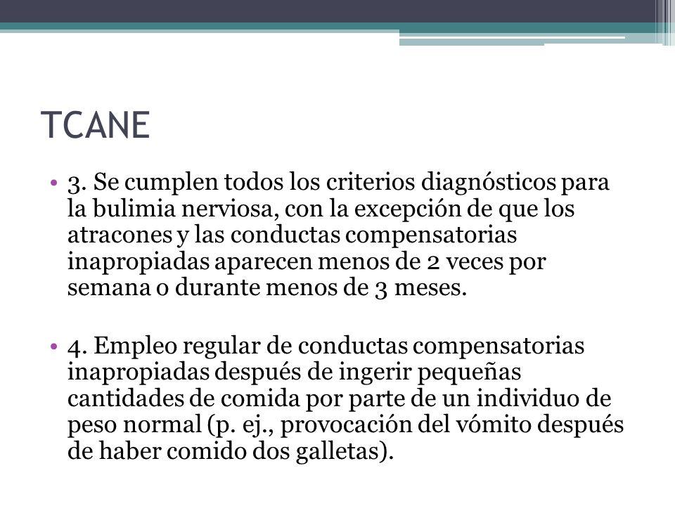 TCANE 3. Se cumplen todos los criterios diagnósticos para la bulimia nerviosa, con la excepción de que los atracones y las conductas compensatorias in
