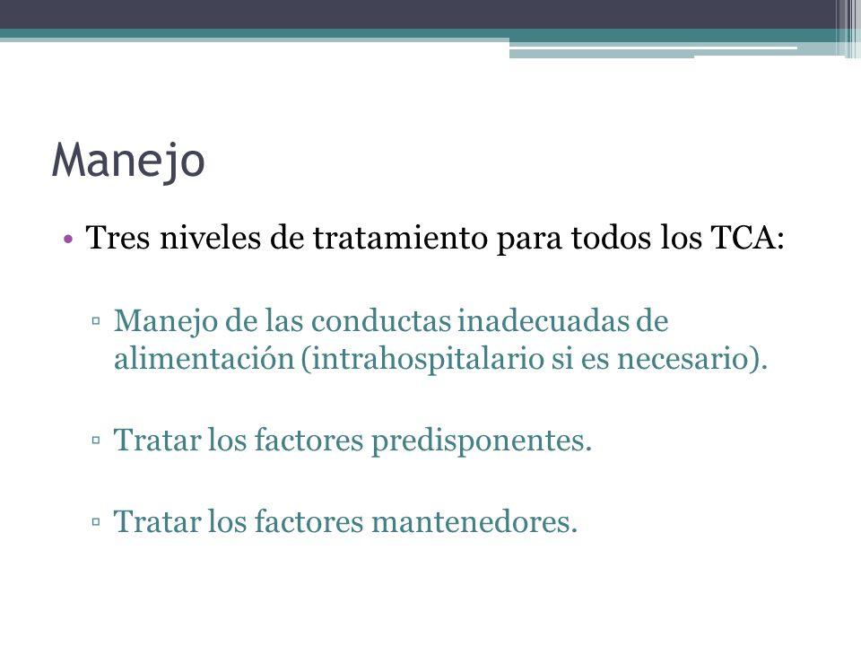Manejo Tres niveles de tratamiento para todos los TCA: Manejo de las conductas inadecuadas de alimentación (intrahospitalario si es necesario). Tratar
