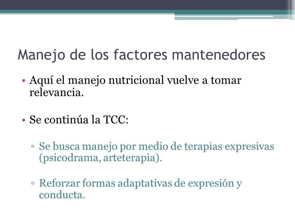 Manejo de los factores mantenedores Aquí el manejo nutricional vuelve a tomar relevancia. Se continúa la TCC: Se busca manejo por medio de terapias ex