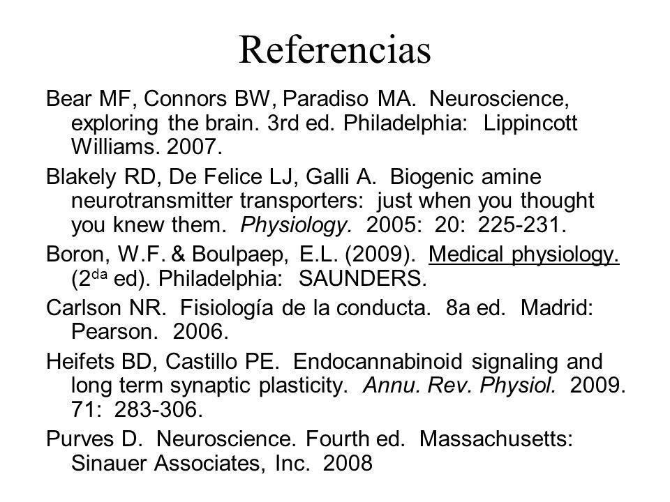 Referencias Bear MF, Connors BW, Paradiso MA. Neuroscience, exploring the brain. 3rd ed. Philadelphia: Lippincott Williams. 2007. Blakely RD, De Felic