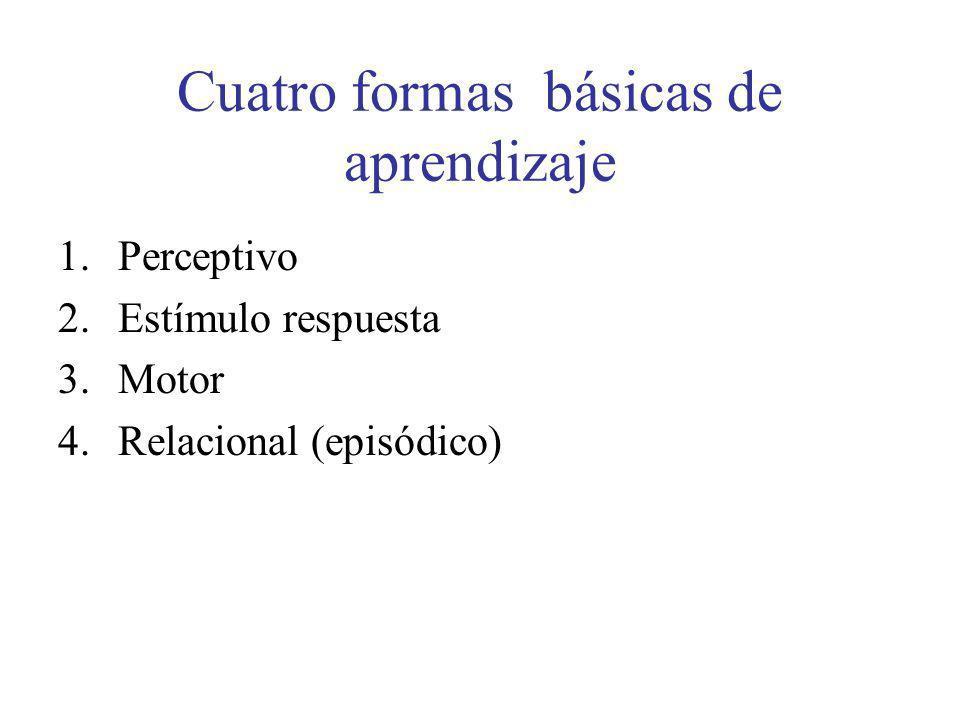 Cuatro formas básicas de aprendizaje 1.Perceptivo 2.Estímulo respuesta 3.Motor 4.Relacional (episódico)