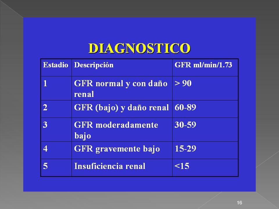 17 Clasificación NKF de Insuficiencia Renal Crónica (IRC) EstadioDescripciónFG (mL por minuto por 1,73 m2) Plan de Acción -Riesgo incrementado para insuficiencia renal crónica > 60 (con factores de riesgo para insuficiencia renal crónica) Screening, reducción de los factores de riesgo para insuficiencia renal crónica 1Daño renal con FG normal o elevado > 90Diagnóstico y tratamiento, tratamiento de comorbilidades, intervenciones para enlentecer la progresión de la enfermedad y reducción de los factores de riesgo para enfermedad cardiovascular 2Daño renal con disminución leve del FG 60 a 89Estimación de la progresión de la enfermedad 3Disminución moderada del FG30 a 59Evaluación y tratamiento de las complicaciones de la enfermedad 4Disminución severa del FG15 a 29Preparación para la terapia de reemplazo renal (diálisis, transplante) 5Fallo renal< 15 (o diálisis)Terapia de reemplazo renal si la uremia está presente
