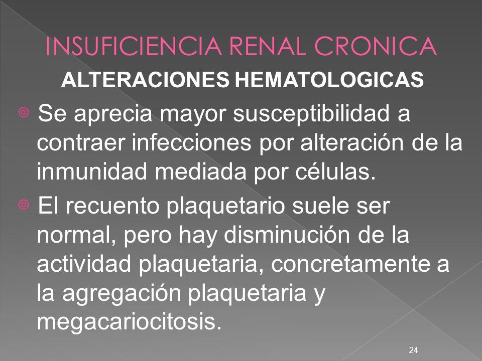24 ALTERACIONES HEMATOLOGICAS Se aprecia mayor susceptibilidad a contraer infecciones por alteración de la inmunidad mediada por células. El recuento