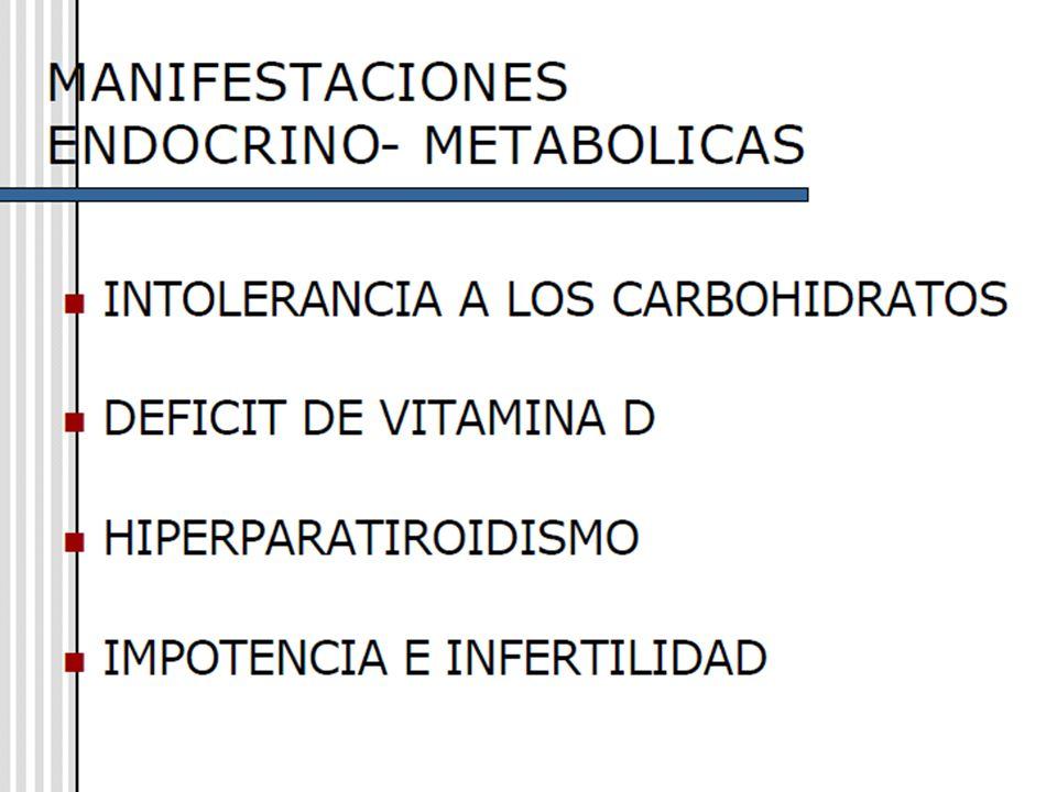 30 ALTERACIONES METABÓLICAS: Aparece intolerancia a los hidratos de carbono, como consecuencia de: Disminución de la sensibilidad a la insulina de los tejidos periféricos.