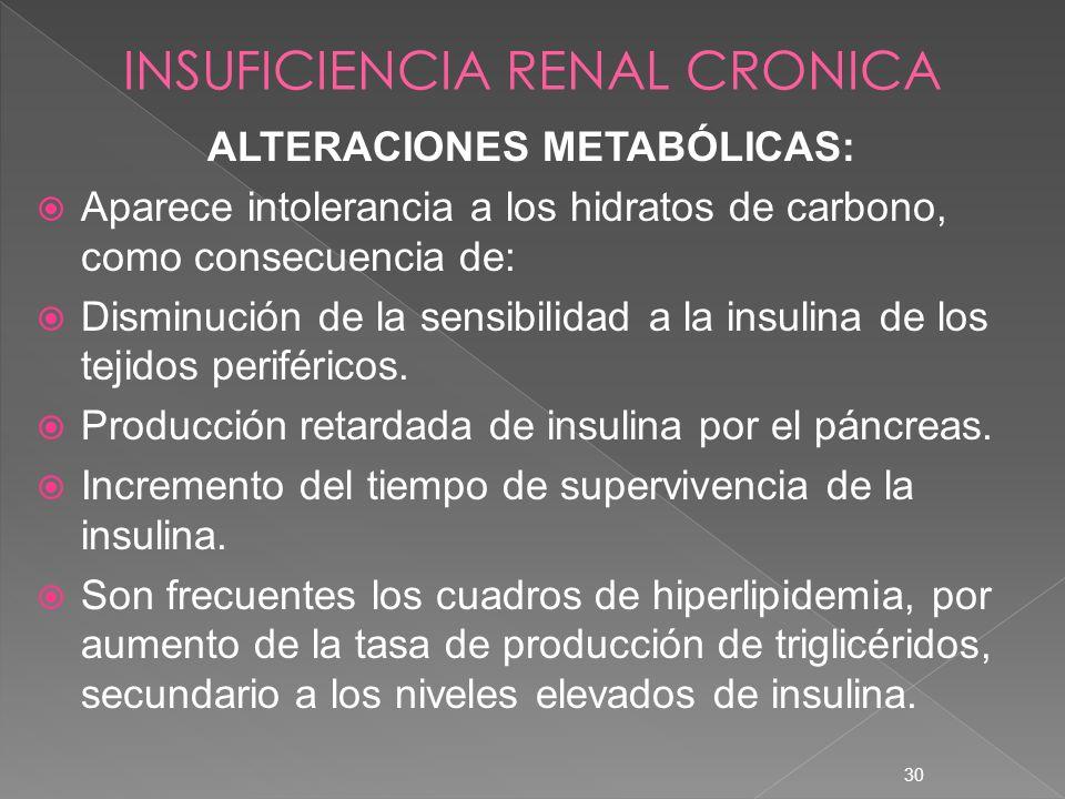 30 ALTERACIONES METABÓLICAS: Aparece intolerancia a los hidratos de carbono, como consecuencia de: Disminución de la sensibilidad a la insulina de los