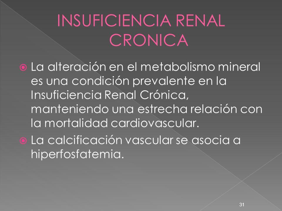 31 La alteración en el metabolismo mineral es una condición prevalente en la Insuficiencia Renal Crónica, manteniendo una estrecha relación con la mor