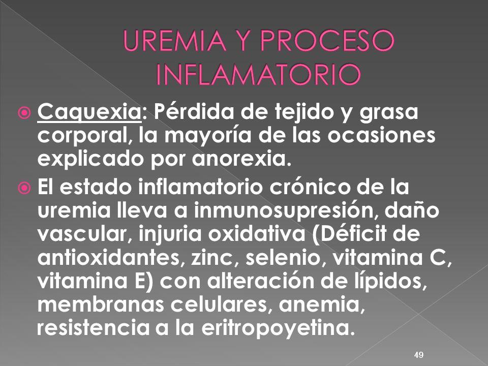 49 Caquexia: Pérdida de tejido y grasa corporal, la mayoría de las ocasiones explicado por anorexia. El estado inflamatorio crónico de la uremia lleva
