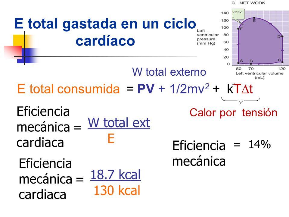 Eficiencia mecánica cardiaca = W total ext E E total gastada en un ciclo cardíaco Eficiencia mecánica = 14% Eficiencia mecánica cardiaca = 18.7 kcal 1