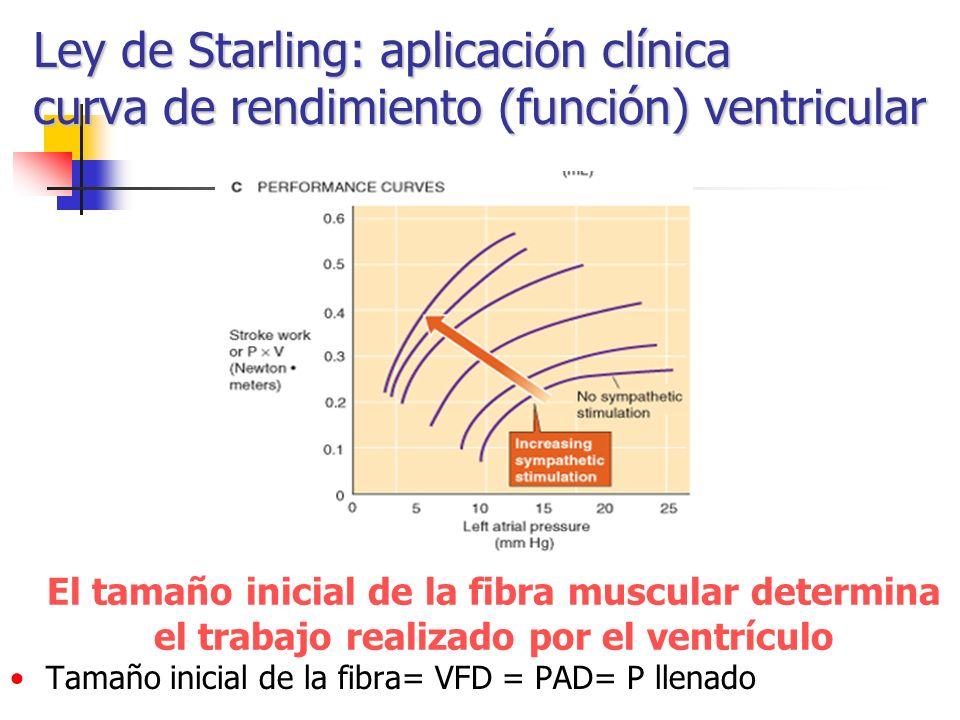 Ley de Starling: aplicación clínica curva de rendimiento (función) ventricular El tamaño inicial de la fibra muscular determina el trabajo realizado p