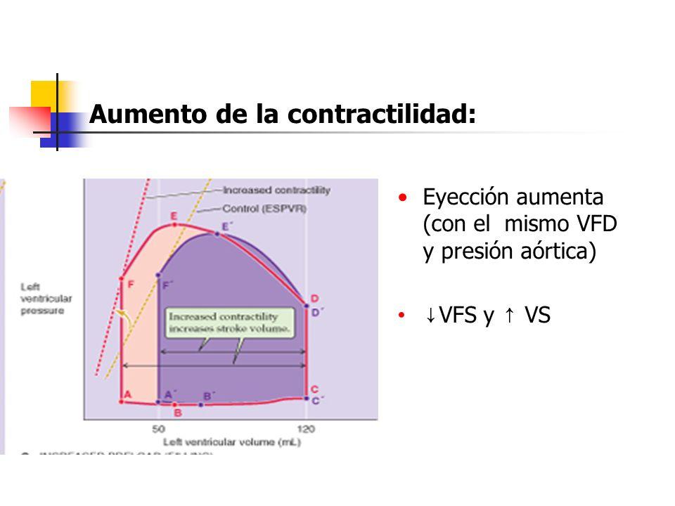Eyección aumenta (con el mismo VFD y presión aórtica)Eyección aumenta (con el mismo VFD y presión aórtica) VFS y VS VFS y VS Aumento de la contractili