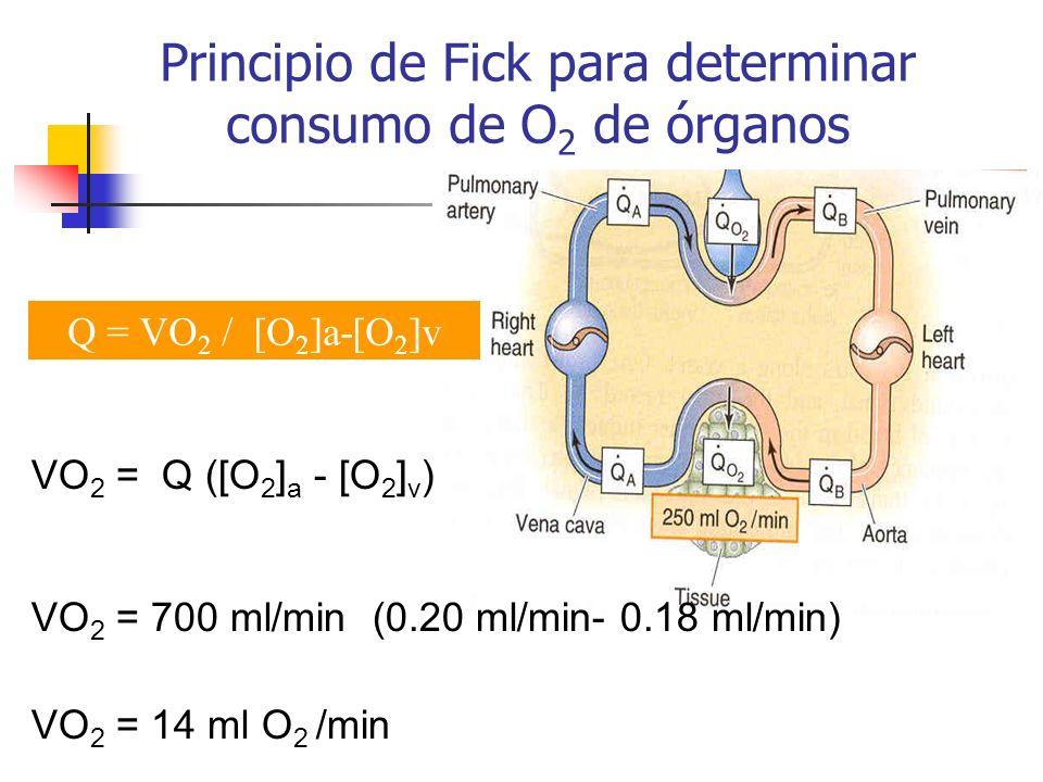 Principio de Fick para determinar consumo de O 2 de órganos VO 2 = Q ([O 2 ] a - [O 2 ] v ) VO 2 = 700 ml/min (0.20 ml/min- 0.18 ml/min) VO 2 = 14 ml