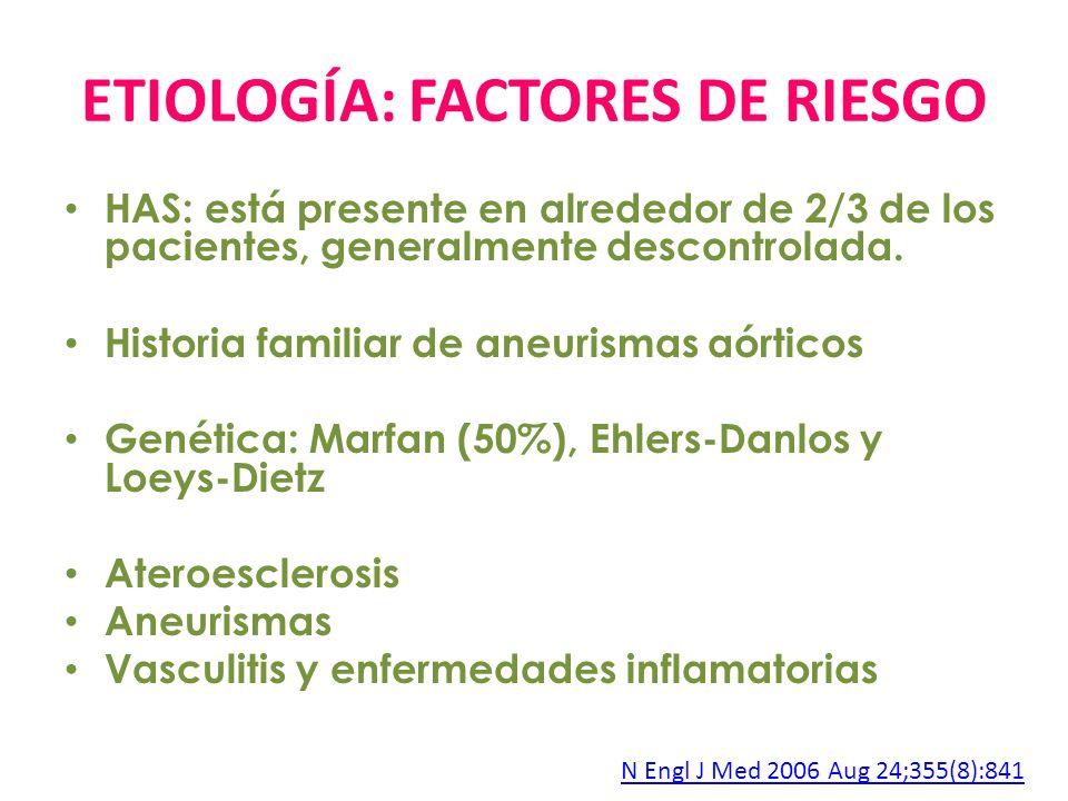 ETIOLOGÍA: FACTORES DE RIESGO HAS: está presente en alrededor de 2/3 de los pacientes, generalmente descontrolada. Historia familiar de aneurismas aór