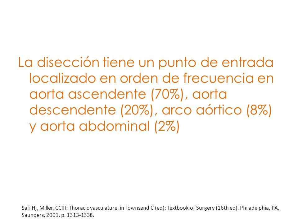 La disección tiene un punto de entrada localizado en orden de frecuencia en aorta ascendente (70%), aorta descendente (20%), arco aórtico (8%) y aorta