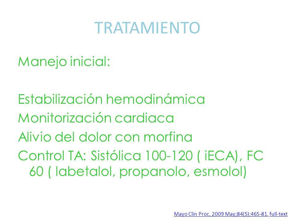 TRATAMIENTO Manejo inicial: Estabilización hemodinámica Monitorización cardiaca Alivio del dolor con morfina Control TA: Sistólica 100-120 ( iECA), FC