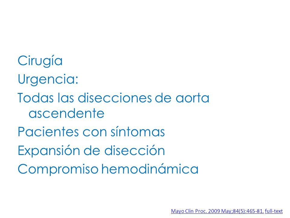 Cirugía Urgencia: Todas las disecciones de aorta ascendente Pacientes con síntomas Expansión de disección Compromiso hemodinámica Mayo Clin Proc. 2009